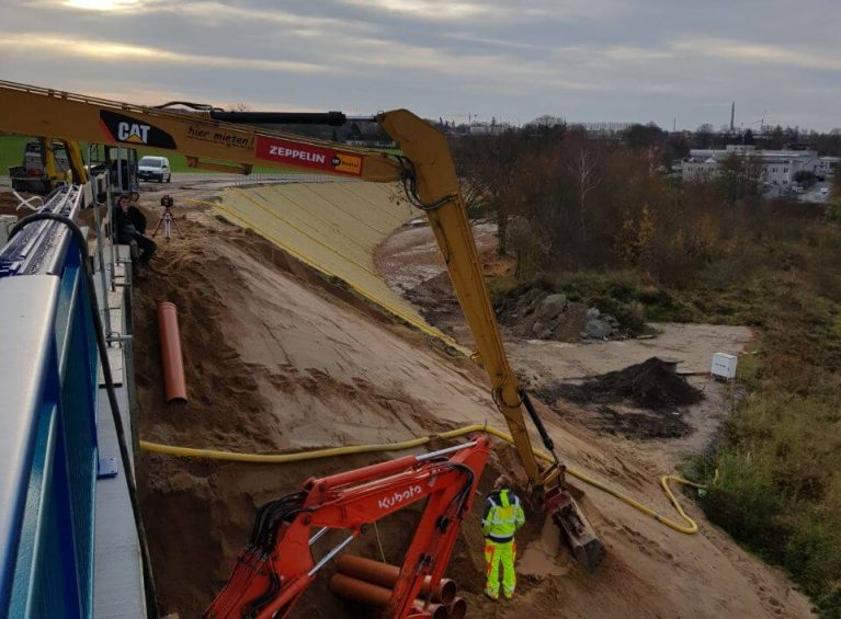 <h4>Bau des Wiederlagers bei Brückenbau</h4>